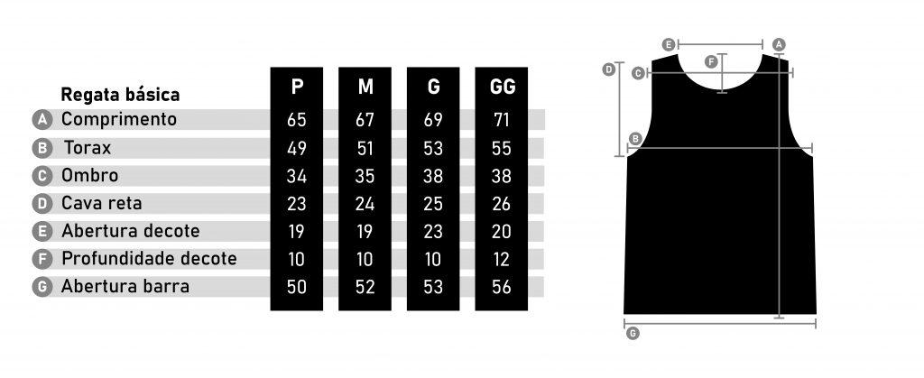 Tabela de Medidas Zatom - Regata