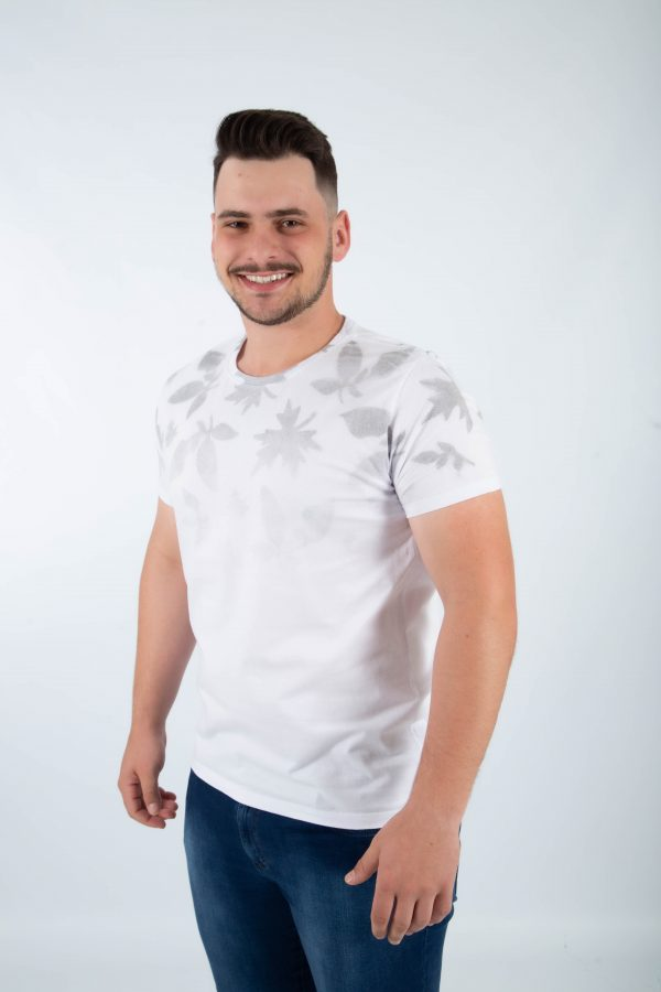 camiseta folhas branco